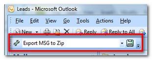 MessageExport drop down toolbar for selecting an export format.