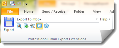 Outlook to MBOX conversion with MessageExport add-in, image shows toolbar.