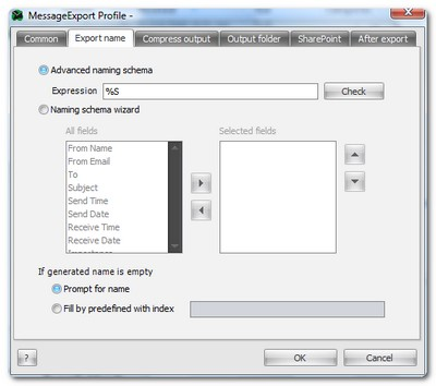 MessageExport settings to determine naming scheme of exported files.