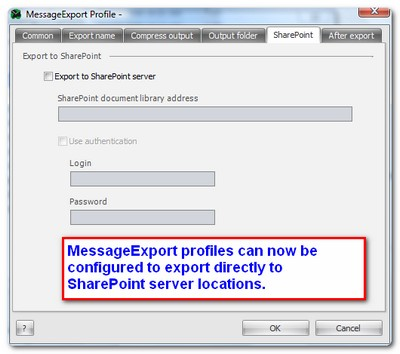 MessageExport profile settings for connecting to SharePoint server.
