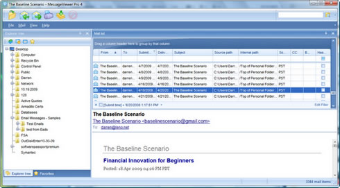 Screen image showing PstViewer Pro with a .ost email file open.