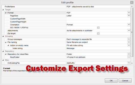 Customize the .msg file export options.