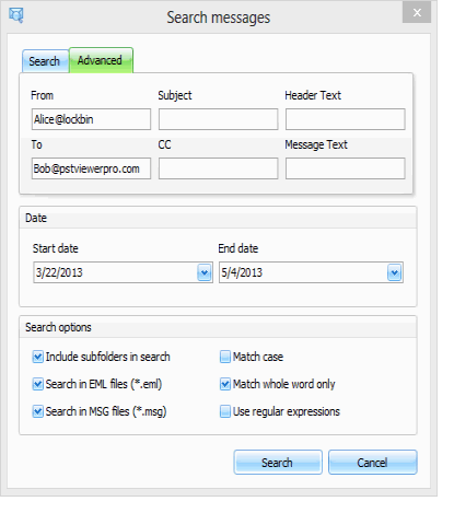 Screen shot of PstViewer Pro™'s email search screen. Search email using fields or by date.