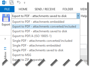 Select e-mail export formats from the MessageExport toolbar, shown here in Outlook 2013.