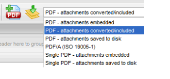 Screen shot showing PstViewer Pro™'s email conversion profiles. 'PDF attachments converted' is highlighted.