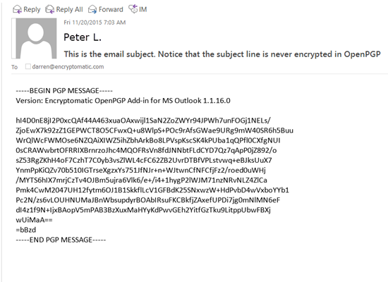 Free OpenPGP add-in for Microsoft Outlook E-mail encryption