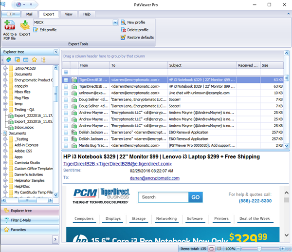 Screen shot of <Mbox email viewing software.